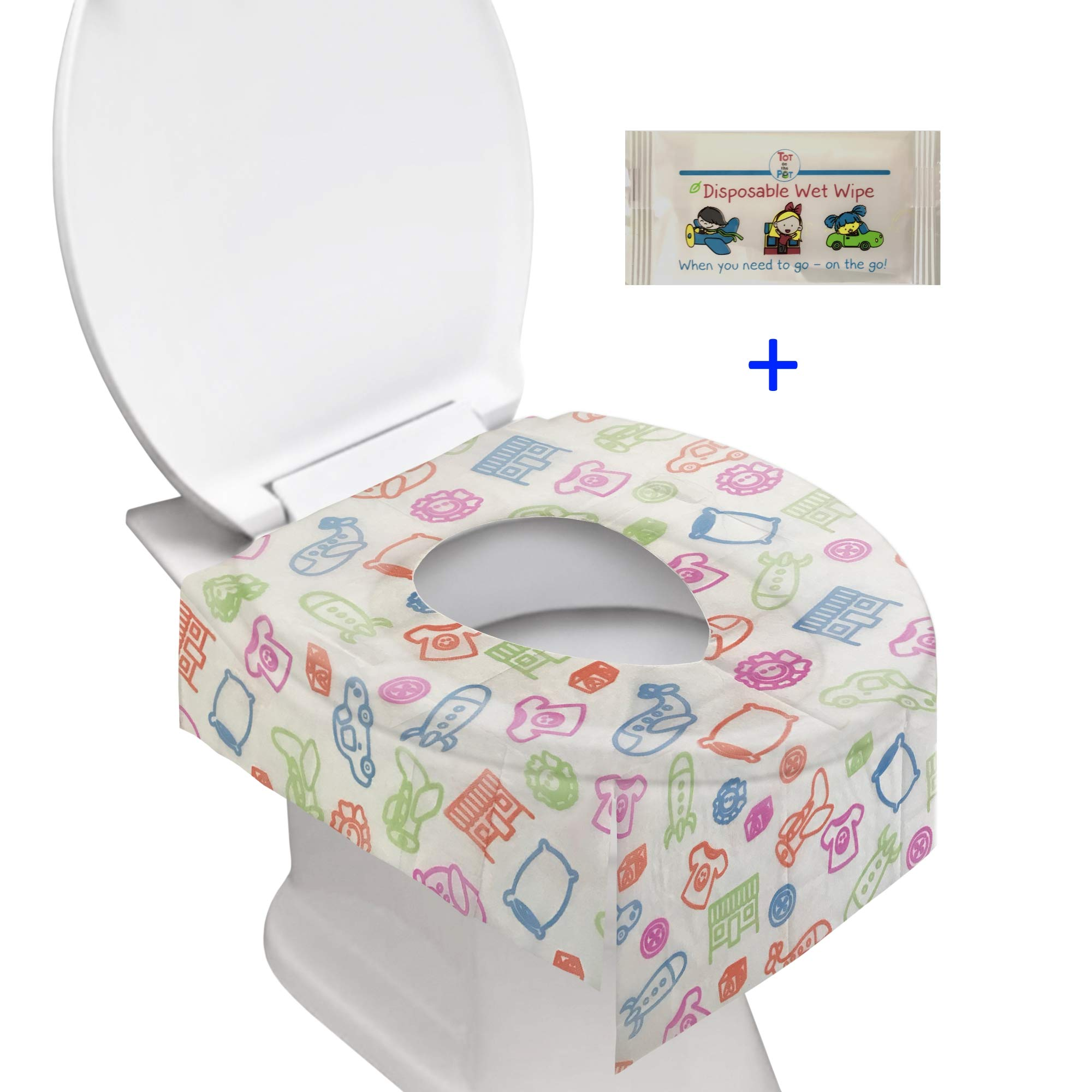 Toilet Cover + Baby Wipe: Individually Wrapped Disposable XL Potty Cover & All Natural Wet Wipe | Perfect Solution for Travel & When You're On The Go (20 Pack)