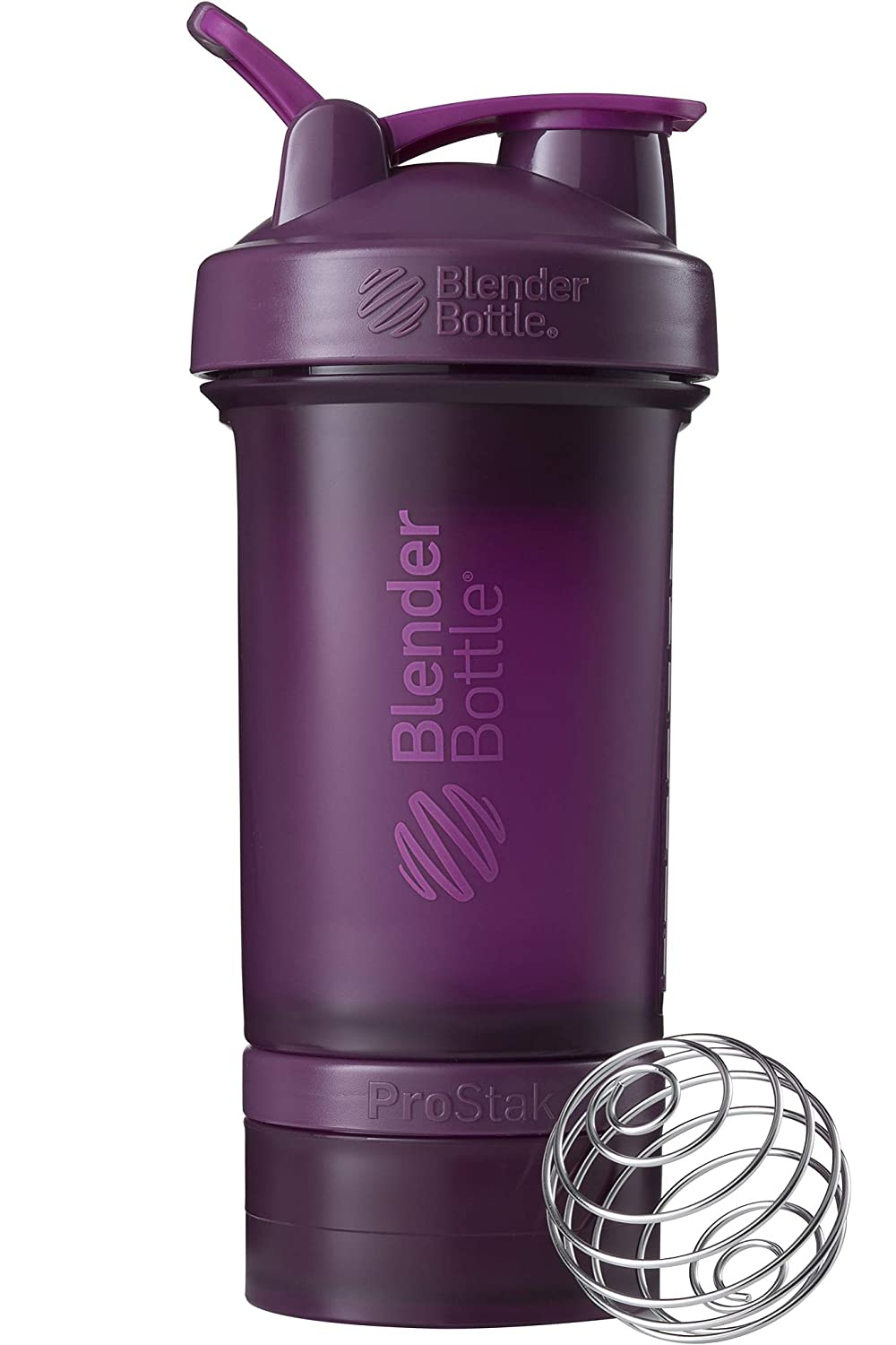 BlenderBottle ProStak System with 22-Ounce Bottle and Twist n' Lock Storage, Plum