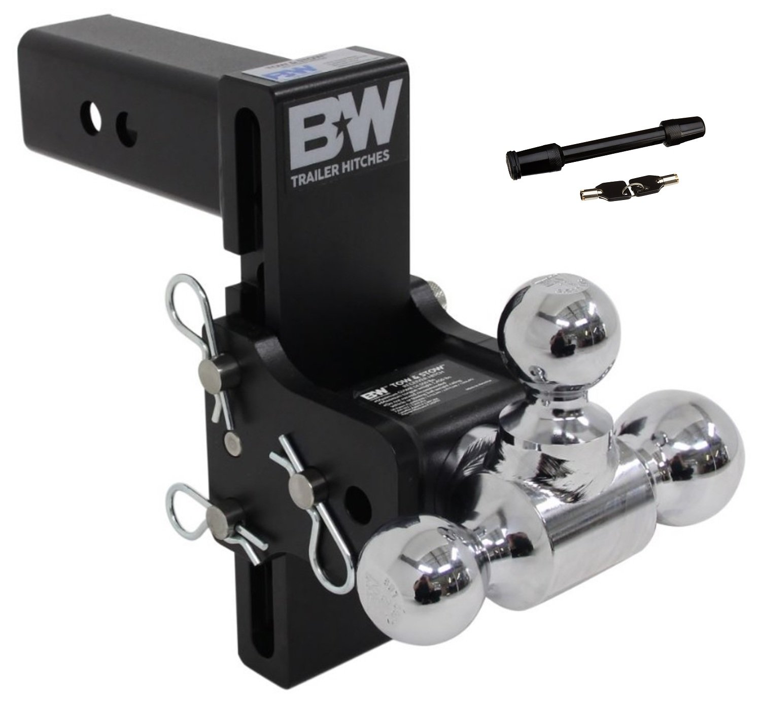 7 Drop B and W TS20049B Tow and Stow Receiver Hitch Tri-Ball with 2.5 Shank 7.5 Rise Plus 5//8 Black Receiver Lock
