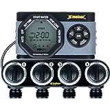 Melnor 4 插座数字水计时器,简单灵活的编程,轻松手动浇水,每个阀门独立启动时间,供水一周天使用