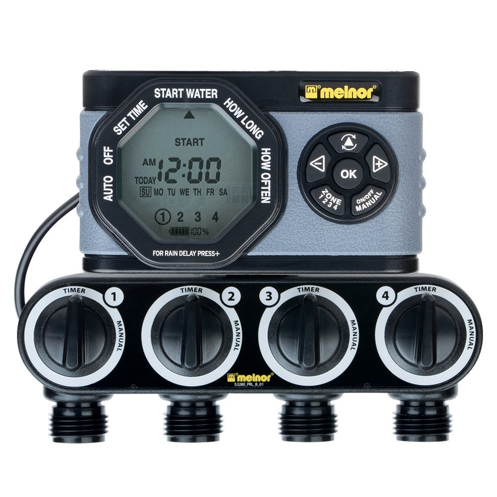Melnor 4-Outlet Digital Water Timer, Simple and Flexible Programming, Easy Manual Watering, Independent Start Time for Each Valve, Water Individual Days of Week Available