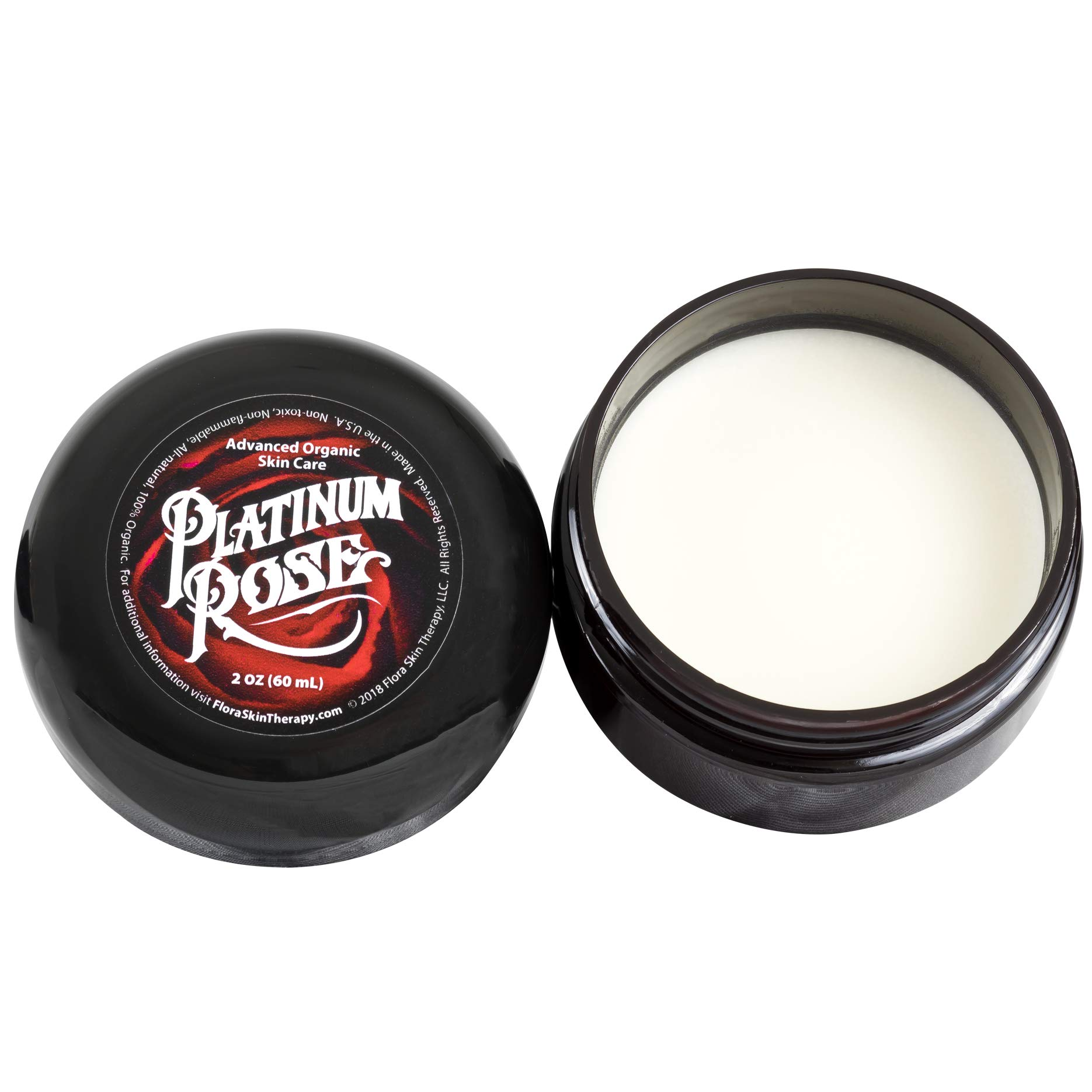 Platinum Rose Tattoo Butter for Before, During, and After the Tattoo Process - Advanced Organic Skin Care - Heals, Lubricates, Moisturizes and Repairs Skin 100% Natural and Organic Ingredients (2 oz) by Flora Skin Therapy
