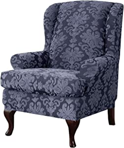 MO&SU Stretch Wingback Chair Sofa Slipcover, 2-Pieces Jacquard Sofa Cover Wing Chair Furniture Protector Couch Covers for Wing Back Armchair-(Sofa Cover+Cushion Cover)-Gray