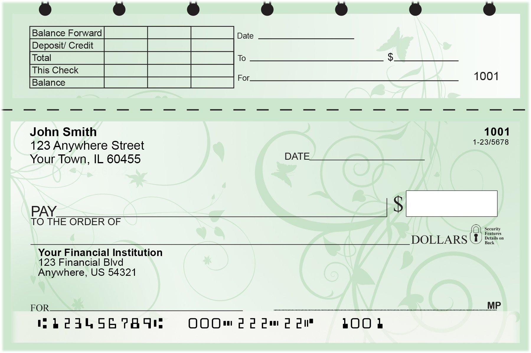Vine Top Stub Personal Checks by CAROUSELCHECKS (Image #3)