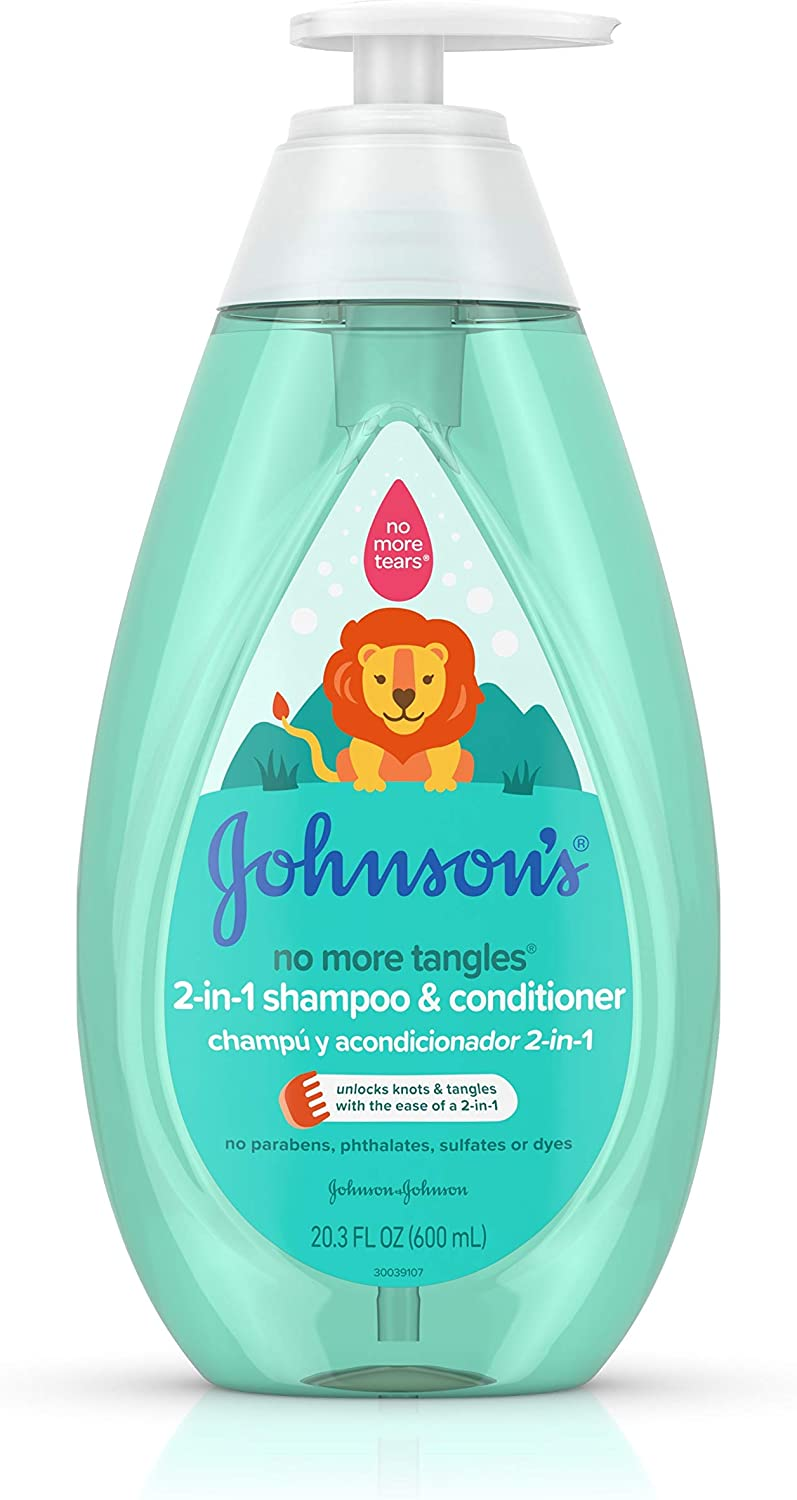 Johnson's Baby No More Tangles Detangling 2-in-1 Toddler & Kids Shampoo & Conditioner, Gentle No More Tears Formula, Hypoallergenic and Free of Parabens, Phthalates, Sulfates and Dyes, 20.3 fl. oz