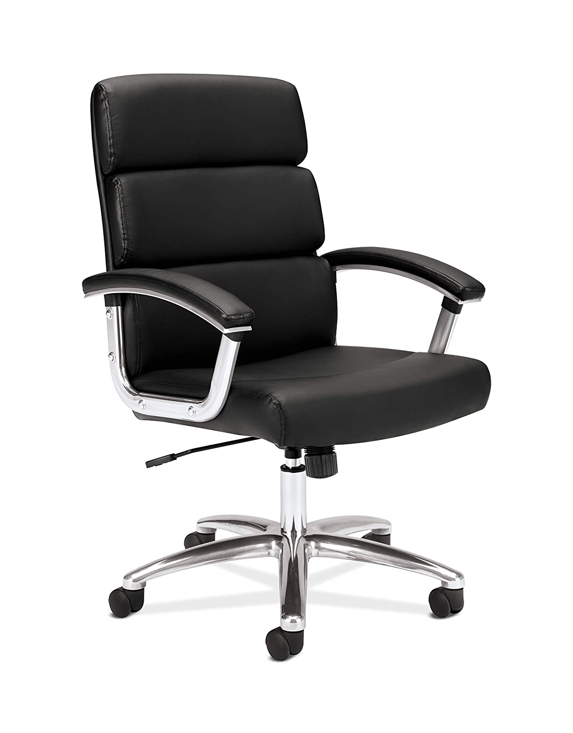 HON Traction Executive Task Chair - Mid Back Leather Computer Chair for Office Desk, Black (VL103)