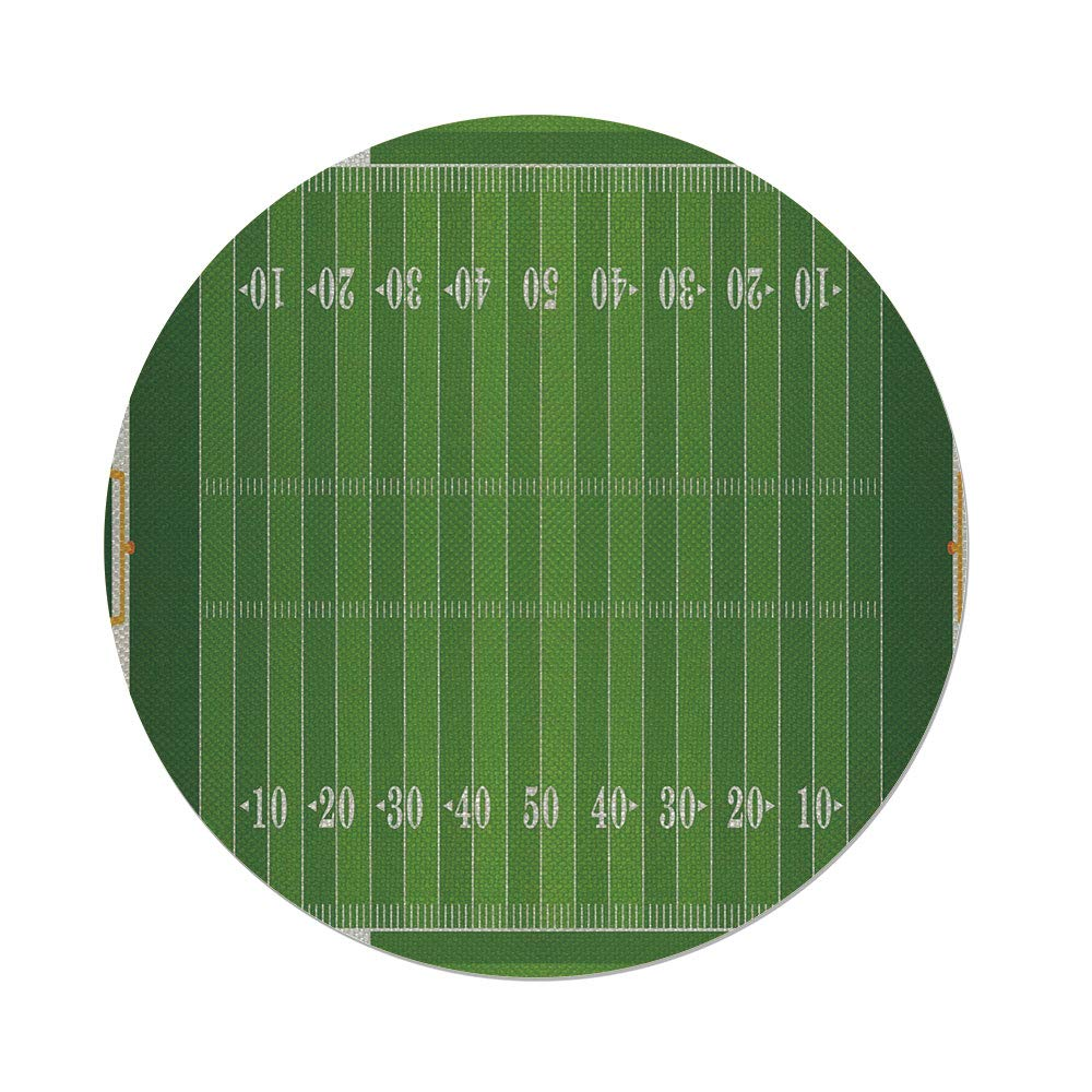 Cotton Linen Round Tablecloth,Football,Sports Field in Green Gridiron Yard Competitive Games College Teamwork Superbowl,Green White,Dining Room Kitchen Table Cloth Cover
