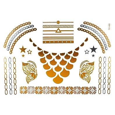 Chic-Net motivo de tatuaje de mariposa arco cadena de plata dorada ...