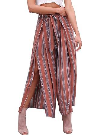 Annybar Damen Sommerhose Elegant Gestreifte Lang High Waist Weite Hose  Casual Streetwear Pants  Amazon.de  Bekleidung fb422f1420