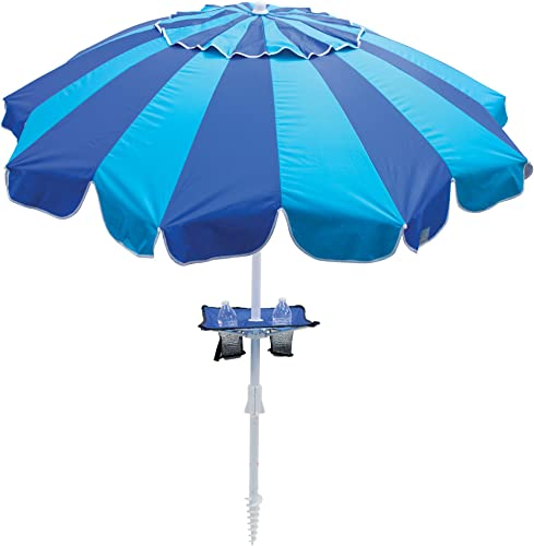 Rio Beach 7.5 ft. Tilt Beach Umbrella with Built-in Table and Sand Anchor