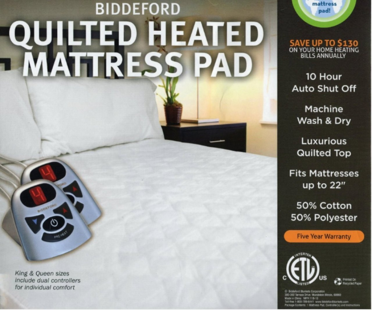 Amazon Biddeford Heated Quilted Mattress Pad Queen Home