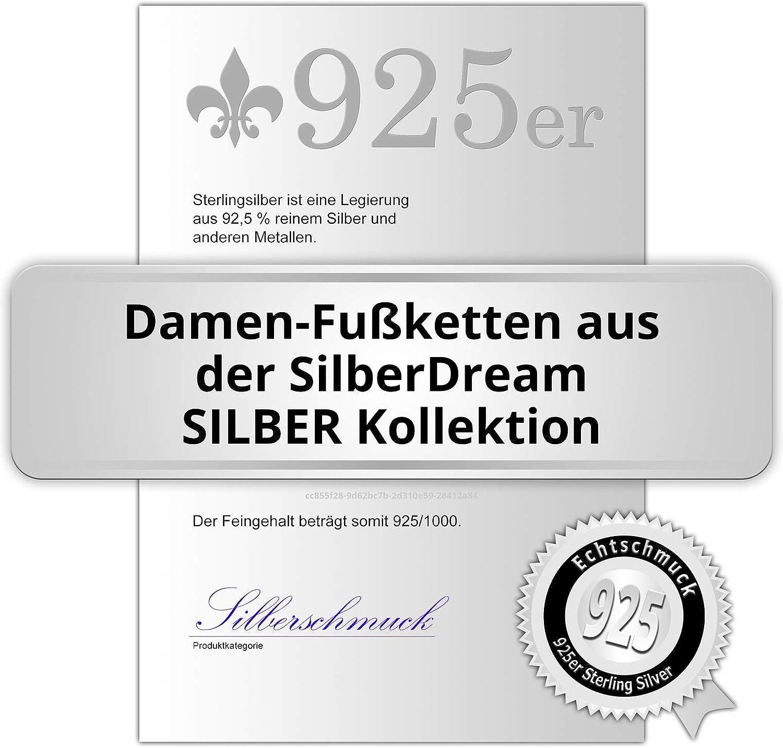 Argent Sterling 925 Bracelet de cheville Bijoux Pied SDF2254K SilberDream Chaine de cheville Fleur 27cm diamant/é noirci