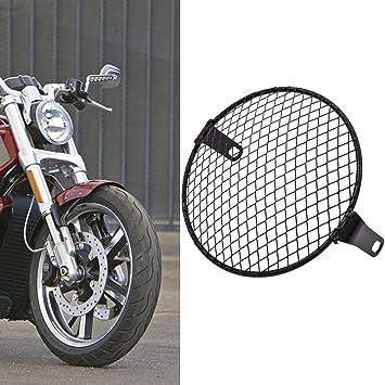 TUINCYN - Rejilla para faros delanteros de motocicleta 16,5 cm - de estilo retro - montaje lateral - parrilla de malla de 160 mm - 170 mm para la ...