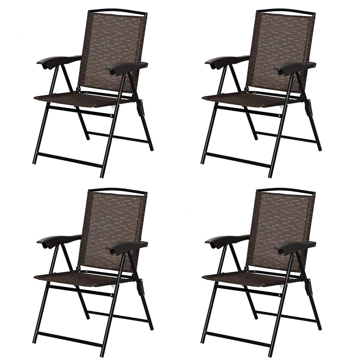 EnjoyShop2018 4 pcs Folding Sling Chairs with Steel Armrest and Adjustable Back Indoor Outdoor Camping