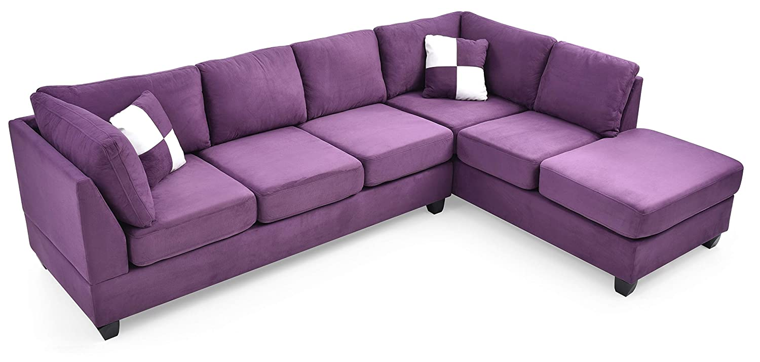 Stupendous Amazon Com Glory Furniture G637 Sc Sectional Sofa Purple Ibusinesslaw Wood Chair Design Ideas Ibusinesslaworg