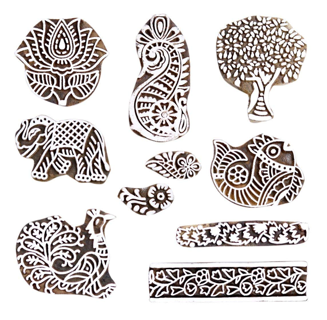 PARIJAT HANDICRAFT Printing Stamps Mughal Design Wooden Blocks (Set of 10) Hand-Carved for Saree Border Making Pottery Crafts Textile Printing