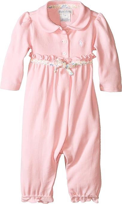 Bebé Ralph Lauren en alemán mono de trabajo jugadores traje colour rosa rosa, blanco Talla
