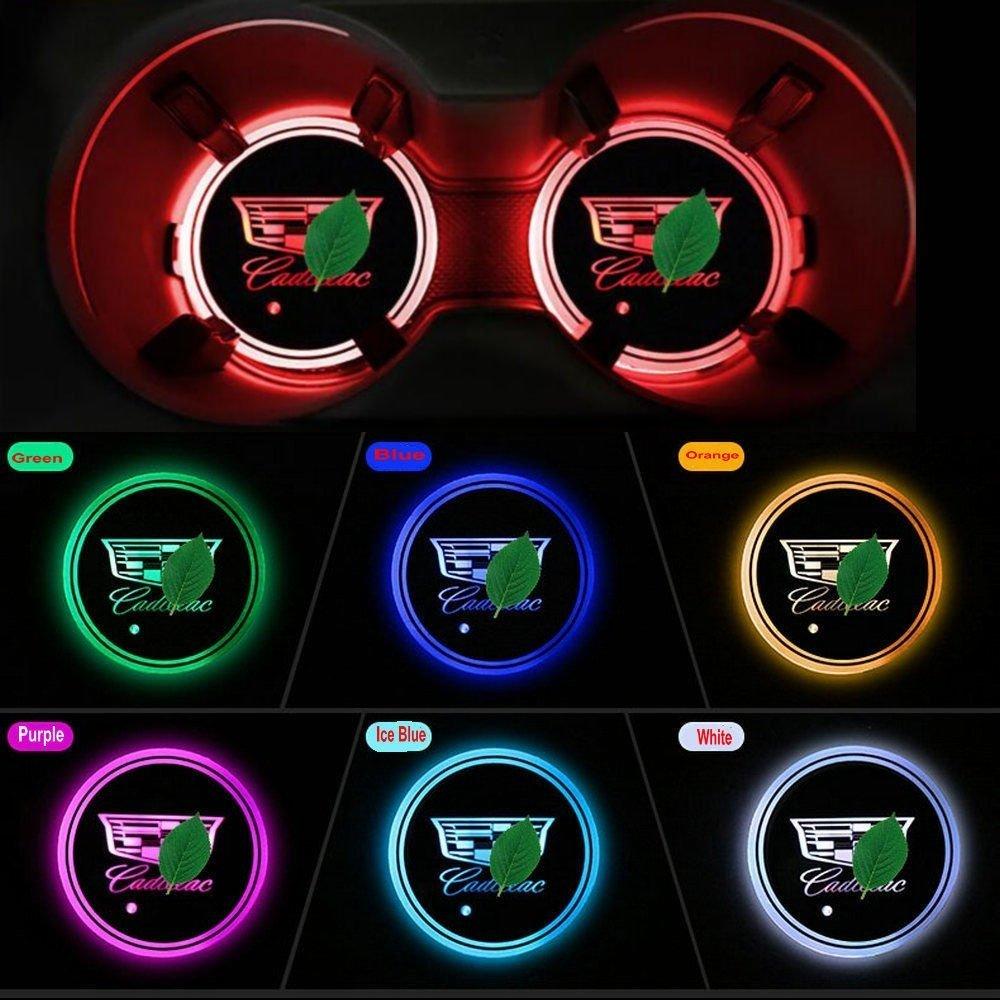 JIanna LED Car Logo Cup Holder Pad 7 Colors Changing USB Charging Mat LED Cup Mat Car Atmosphere Lamp Decoration Lights 2PCS Hyundai