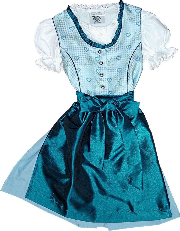 Festliches Kinderdirndl GINA rosa oder blau, 3tlg. Komplettset inkl. Bluse