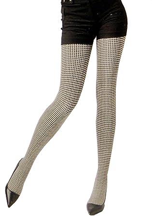 1c5737d5621e5c Blickdichte Damen Strumpfhose warme Winter Pantyhose Stockings mit  brandaktuellen Weiß Schwarz Muster 120 DEN