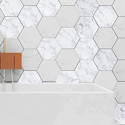 c5335acf8ad Amazon.com  EZSpace 3D Wall Decorations Removable Marble Hexagon ...