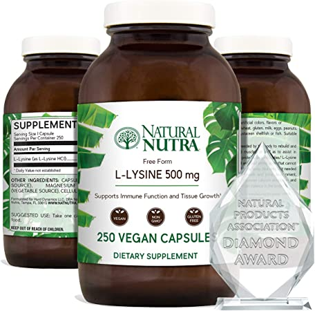 Natural Nutra L Lysine HCl, Promotes Healthy Bone Growth, Helps Built Collagen, Tissue Formation, Improve Calcium Absorption, Alpha Amino Acid Supplement, Non GMO, Vegan, 500 mg, 250 Capsules.