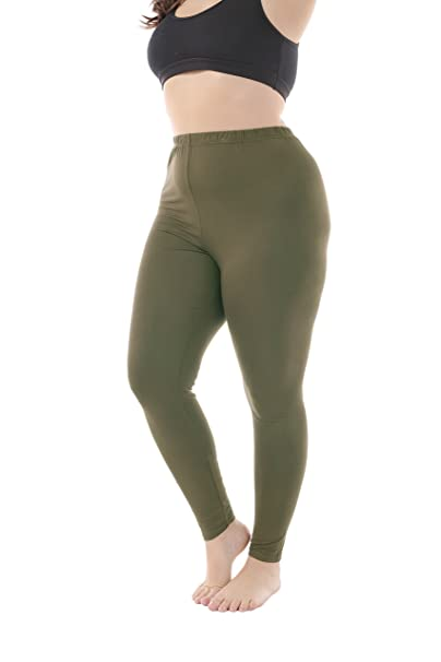 a47615c2fb269 Zerdocean Women s Plus Size Summer Full Length Leggings Army Green 1X