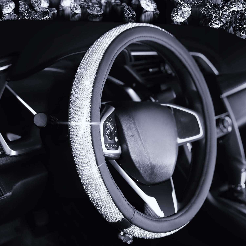 Bling Car Accessories for Women Bling License Plate Frame for Women Diamond Steering Wheel Cover with Bling Fit 15 Bling USB Car Charger Bling Ring Emblem Sticker Bling Car Decor 5-Pack Silver