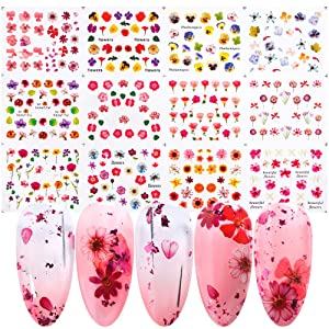 Nail Art Foil Stickers Decals Nail Accessories Decorations for Women Girls Kids Nail Foils Flowers Series Transfer Paper Nail Design Kit 12 Sheets/Set