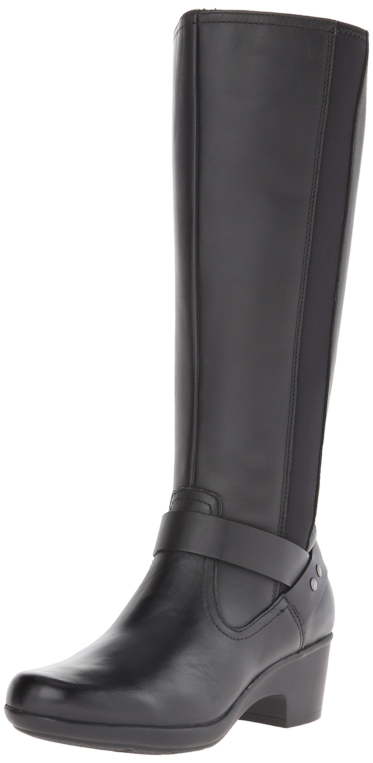 CLARKS Women's Malia Willo Riding Boot, Black Leather, 7 M US