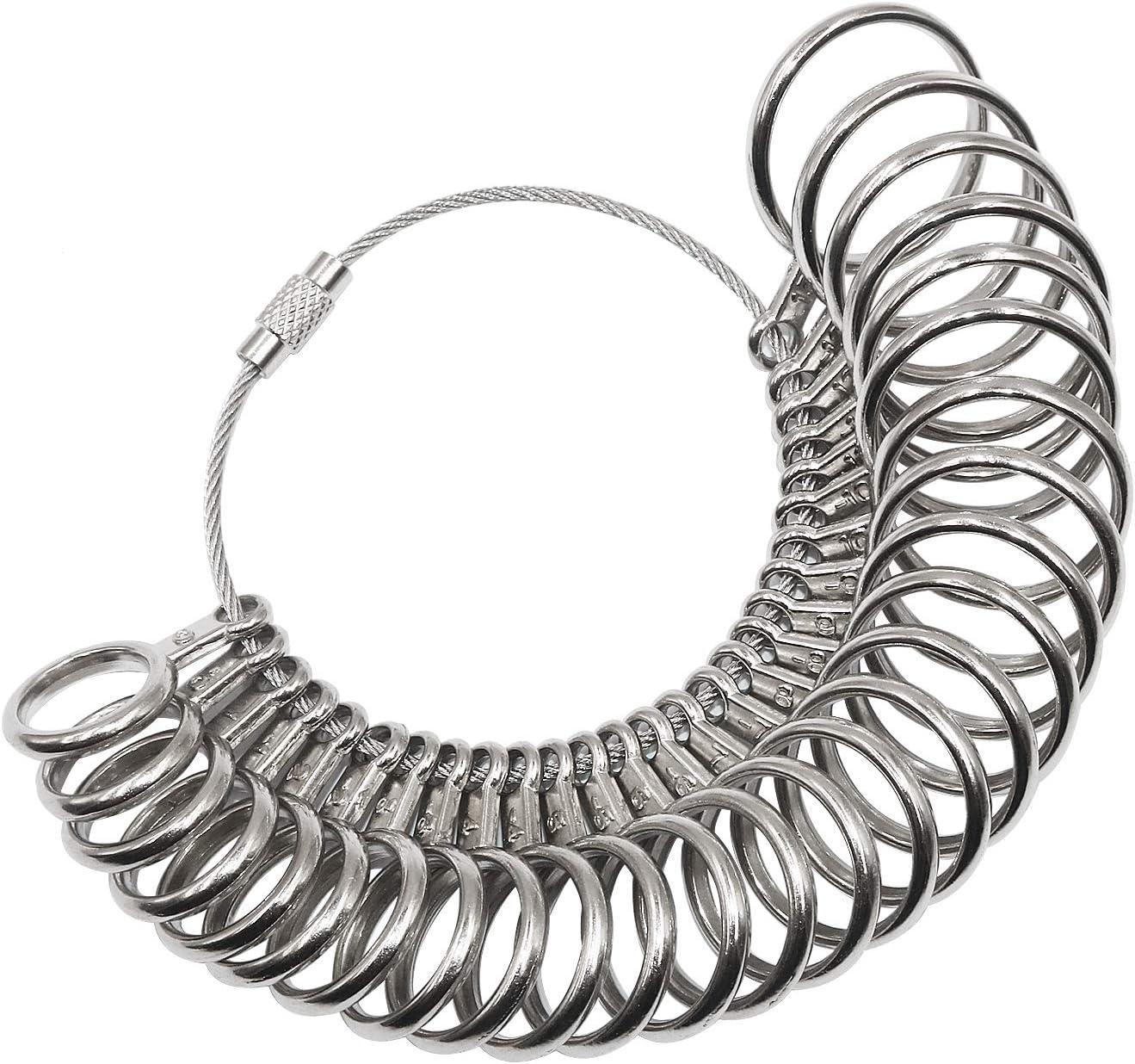 XINYUNG 26 Pcs Metal Ring Sizer UK A-Z Standard Finger Sizing Tool for Women and Men Finger Gauges Measuring Ring Tool