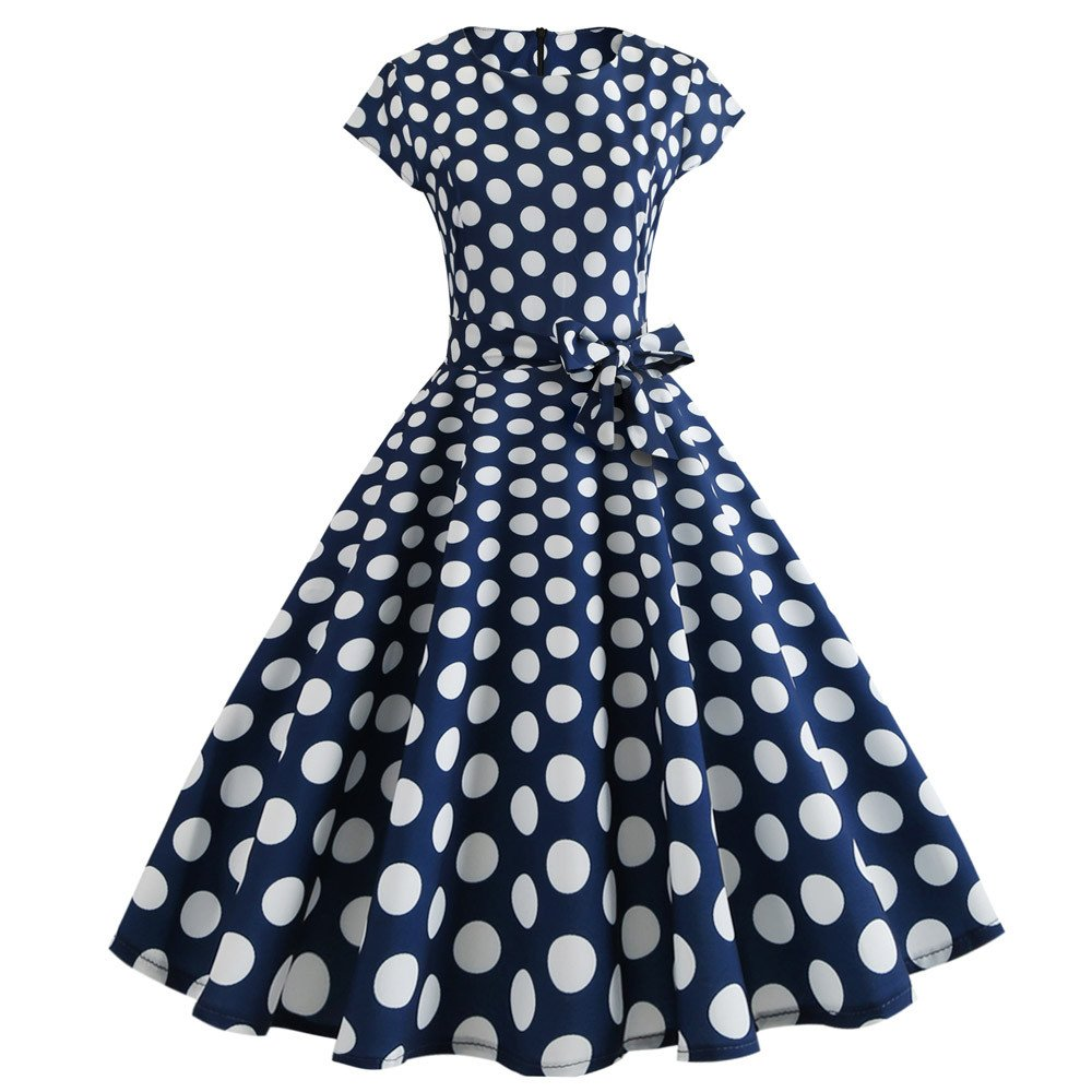Women Prom Dresses JOYFEEL ❤️ Ladies Dot Print Retro Casual Midi Dress Sleeveless O-Neck Bodycon Party A-Line Dresses