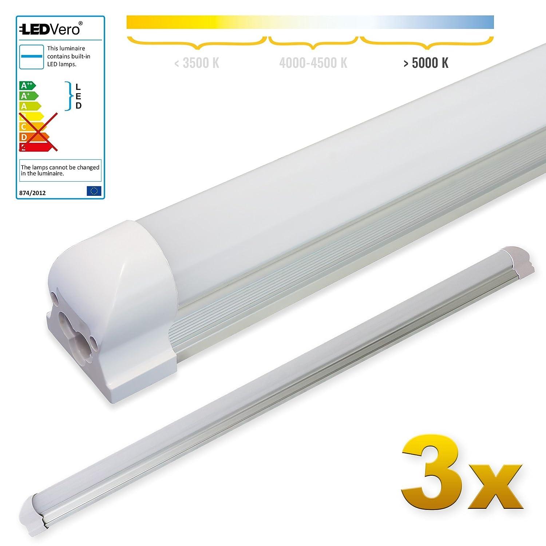 LEDVero 1x SMD LED Röhre 150 cm inklusive Fassung in kaltweiß - Leuchtstoffröhre T8 G13 Tube milchige Abdeckung - Lichtleiste mit 25 W, 2500lm- montagefertig Bargain24 LEDRF298