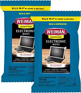 Weiman Electronic Disinfecting Wipes- 2 Pack - Safely Clean Your Laptop, Computer, TV, Screen Equipment-Electronic Cleaner Wipes-15 Count