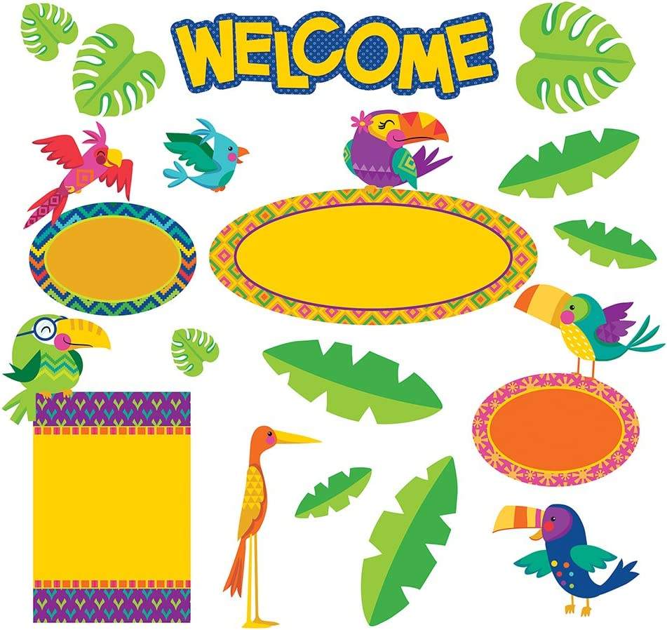 Eureka Back to School 'You Can Tucan' Tropical Birds Welcome Bulletin Board and Classroom Decorations, 21pc, 17'' W x 24'' H