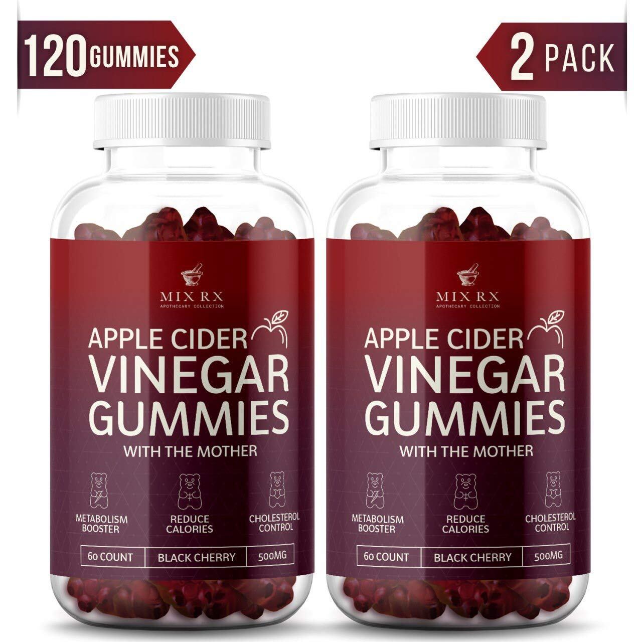(2 Pack | 120 Gummies) Organic Apple Cider Vinegar Gummies with The Mother - Gummy Alternative to Apple Cider Vinegar Capsules, Pills, ACV Tablets with Delicious Black Cherry Flavor by Mix Rx