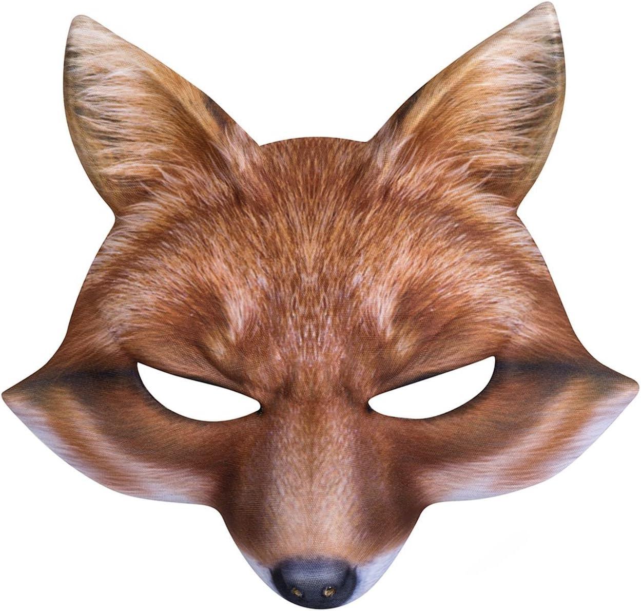 FOX FACE HALF MASK REALISTIC FUR book week childs boys girls fancy dress