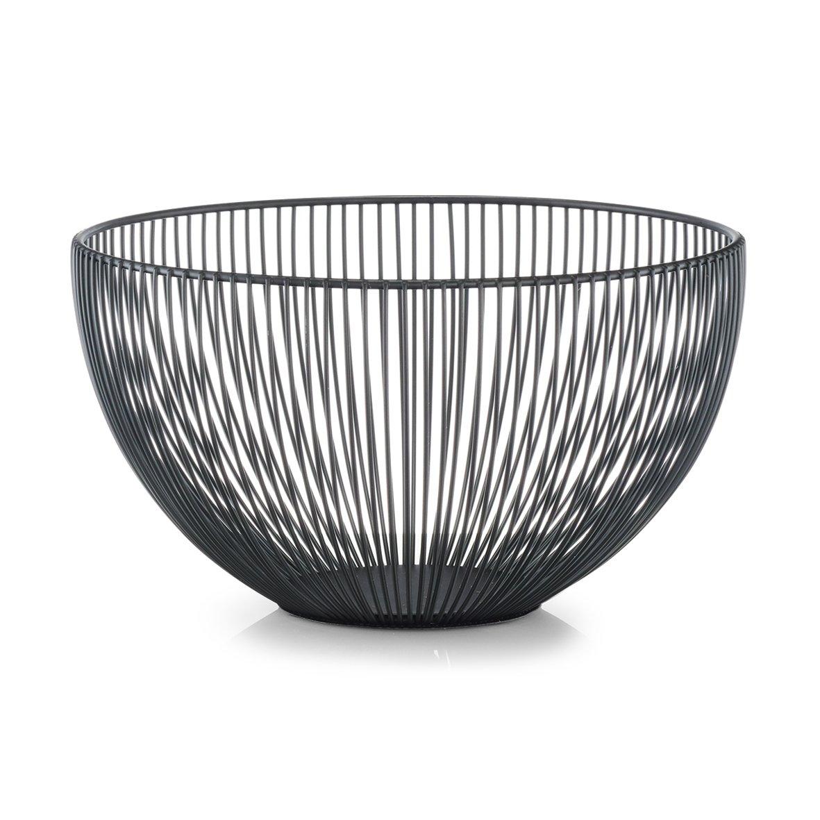 Nero Cestino portafrutta in metallo ca /Ø 25 x 14 cm