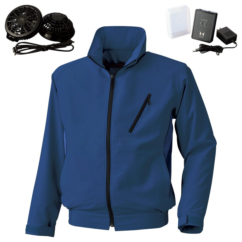 空調風神服サンエス長袖ジャケット(BK6057)+フラットファンレギュラーファンセット(RD9820R)+リチウムイオンバッテリー(RD9870J) セット販売 B07DRCYQ97 4L 56ネイビー 56ネイビー 4L