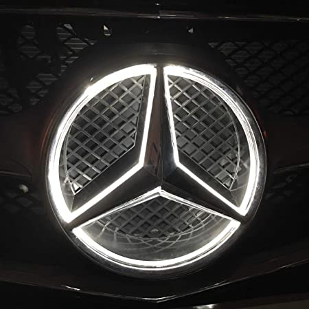 LED Emblem for Mercedes Benz 2013-2015,Car Front Grille Badge White Light Drive Brighter Illuminated Logo Hood Star DRL for Mercedes Benz A B C E R GLK ML GL CLA CLS Class White