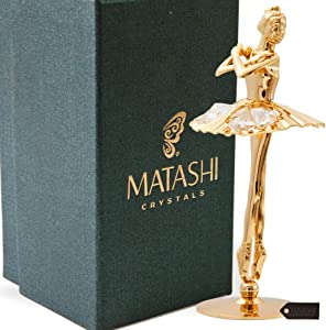 Matashi 24K Gold Plated Crystal Studded Ballerina with Arms Crossed Figurine Tabletop Decoration Great Gift for Birthday Mother's Day Christmas Anniversary