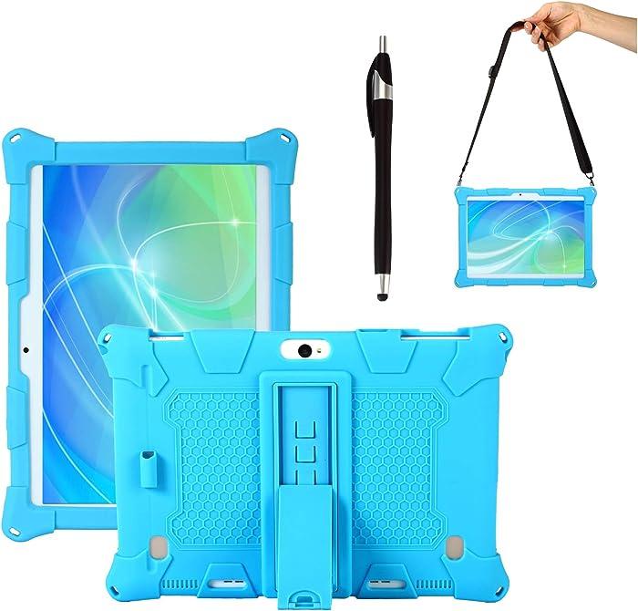 Transwon Silicone Case Compatible with Dragon Touch Notepad K10, Dragon Touch Max10, Dragon Touch K10, VANKYO MatrixPad S30, ZONKO 10.1, Winsing 10, Lectrus 10.1, DUODUOGO K6, Victbing 10 - Blue