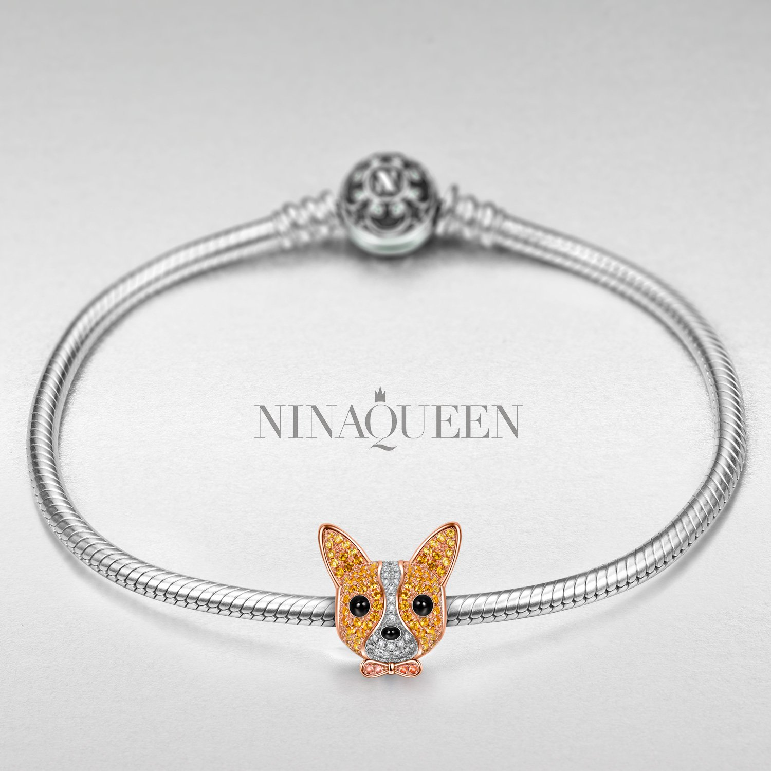 NINAQUEEN Chihuahua 925 Sterling Silver Puppy Dog Animal Bead Charm with Cubic Zirconia for Pandöra Charms Bracelet Jewelry Accessory Birthday for Teen Girls Kids Her Women Wife Mom by NINAQUEEN (Image #3)