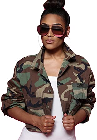 c1128cf7335a9 Recious Womens Long Sleeve Lapel Military Casual Camouflage Printed Short  Coat Jackets
