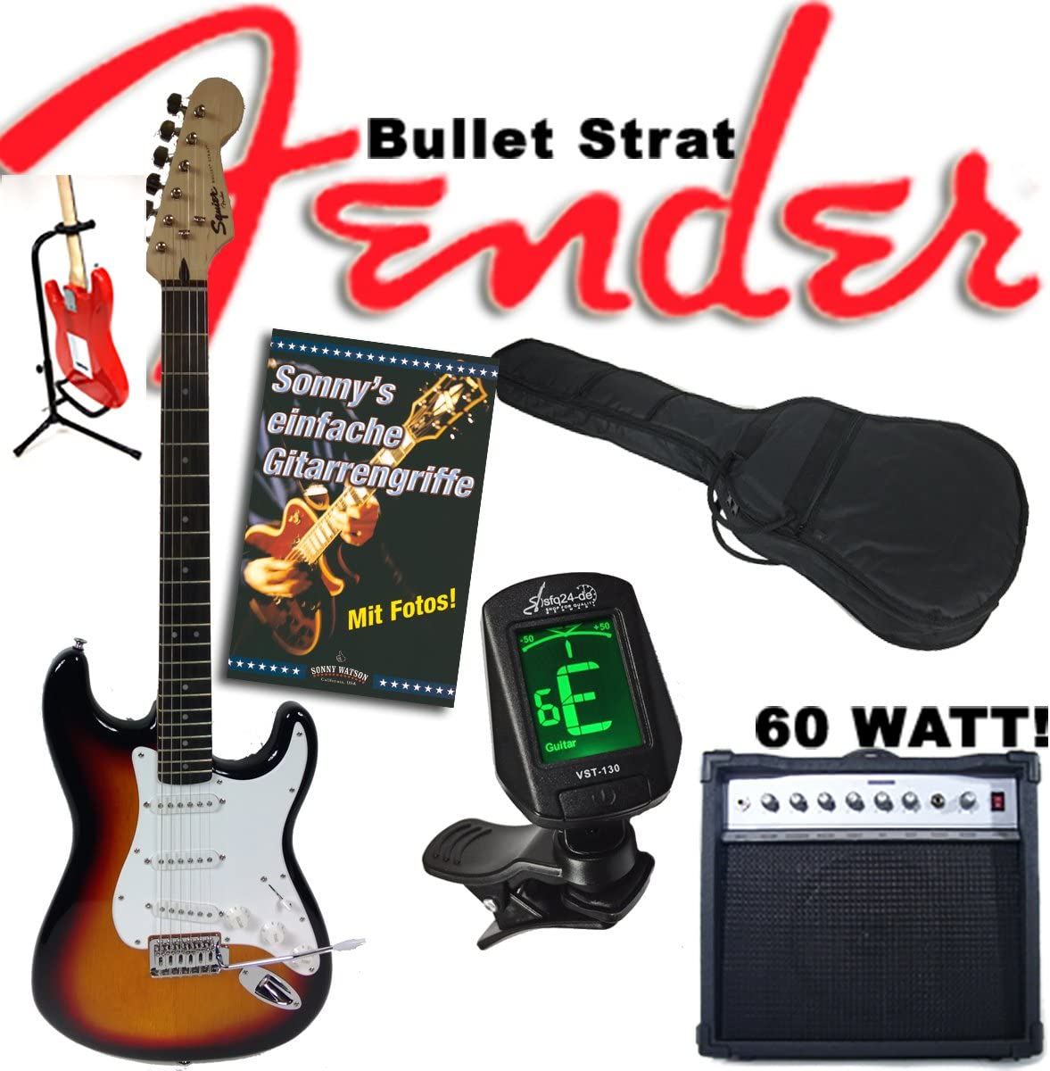 Guitarra eléctrica Original Fender Squier Bullet Strat Sunburst + ...