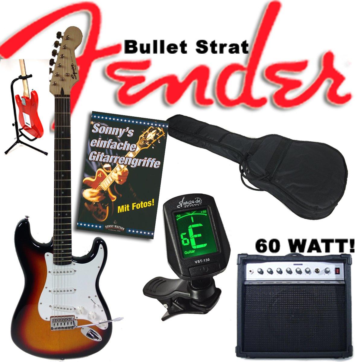 Guitarra eléctrica Original Fender Squier Bullet Strat Sunburst + Amplificador de 60 W, funda, afinador, trípode, cable, trémolo + Libro: Sonny s sencilla ...
