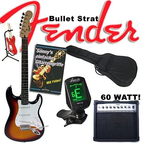 Guitarra eléctrica Original Fender Squier Bullet Strat Sunburst + Amplificador de 60 W, funda, afinador, trípode, ...