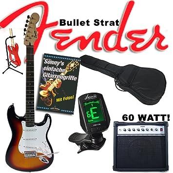 Guitarra eléctrica Original Fender Squier Bullet Strat Sunburst + Amplificador de 60 W, funda,