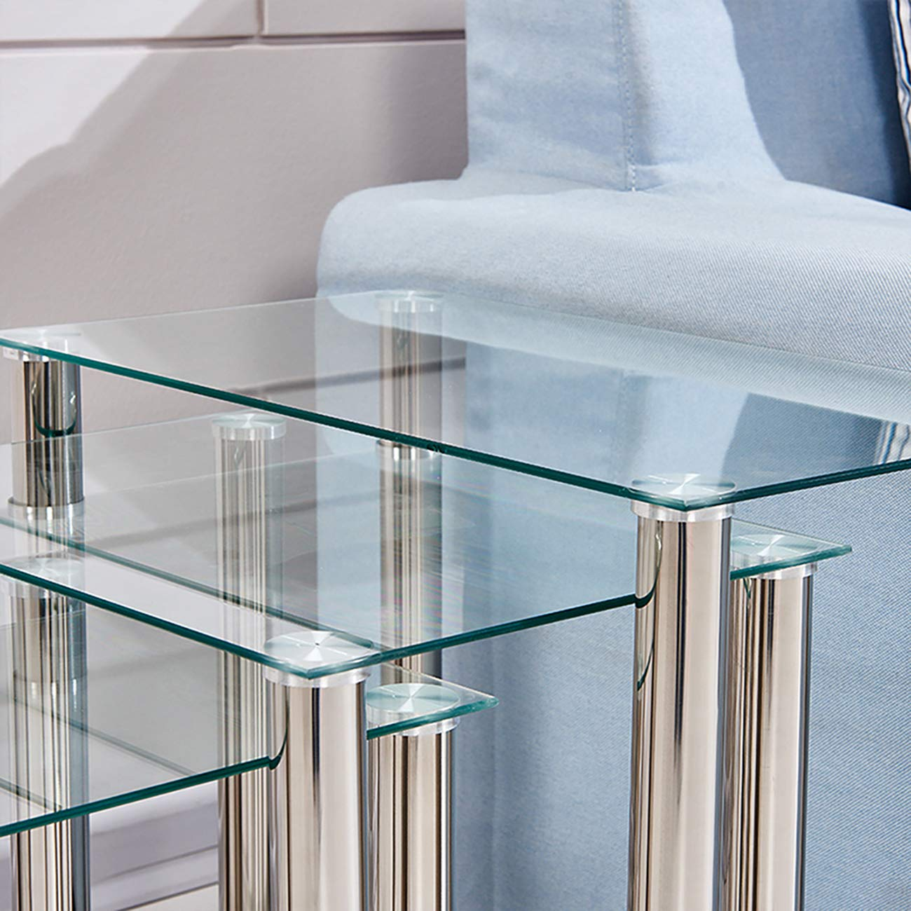 Ansley/&HosHo Black Glass Nesting Tables Glossy Nest of 3 Tables Rectangular with Chrome Legs Sofa Side Table End Table Coffee Table for Living Room Reception Room Limited Space