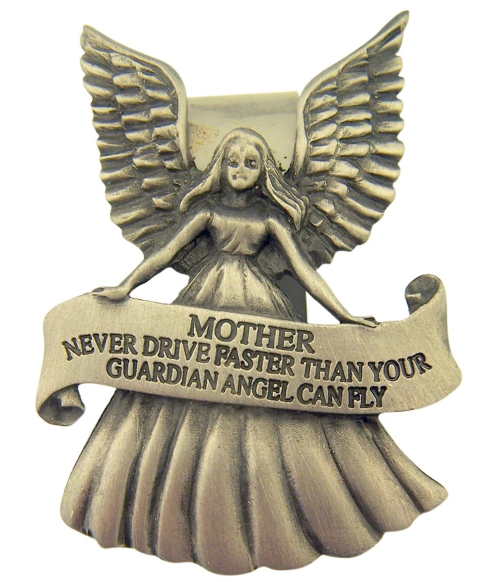 2 1//4 Inch Pewter Guardian Angel with Granddaughter Never Drive Faster Banner Visor Clip